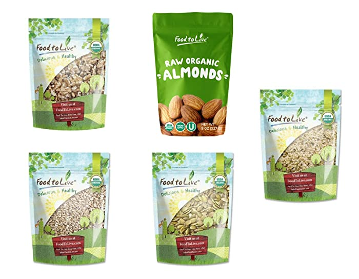 Organic Nuts & Seeds in a Gift Box - A Variety Pack of Almonds, Walnuts, Sunflower Seeds, Pumpkin Seeds, and Hemp Seeds