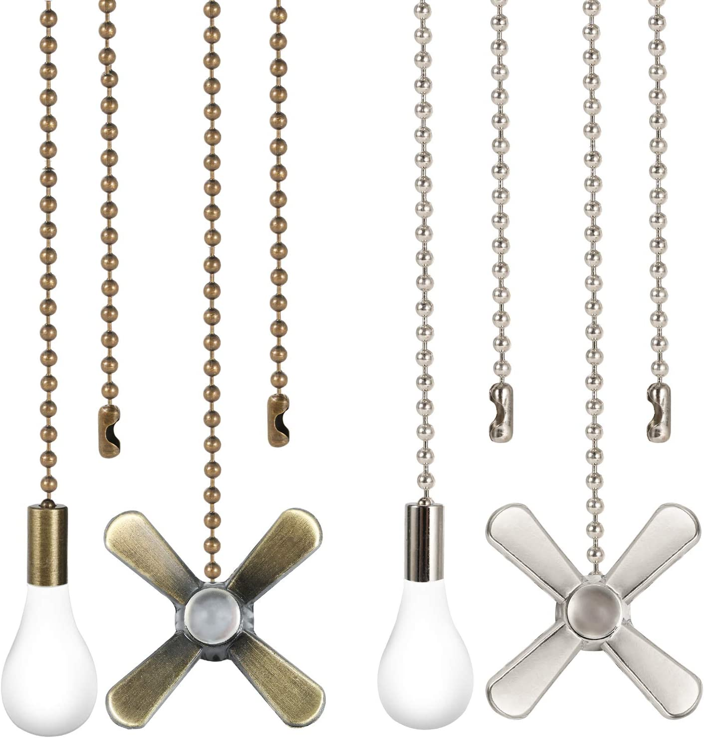 Ceiling Fan Pull Chain 4PCS 2 Sets Pull Chain Extension with Connector Copper Beaded Ball Pull Chain for Ceiling Light Fan 2 Colors Bronze and White Nickel Classic Ceiling Fan Pull Cord Pendant - -