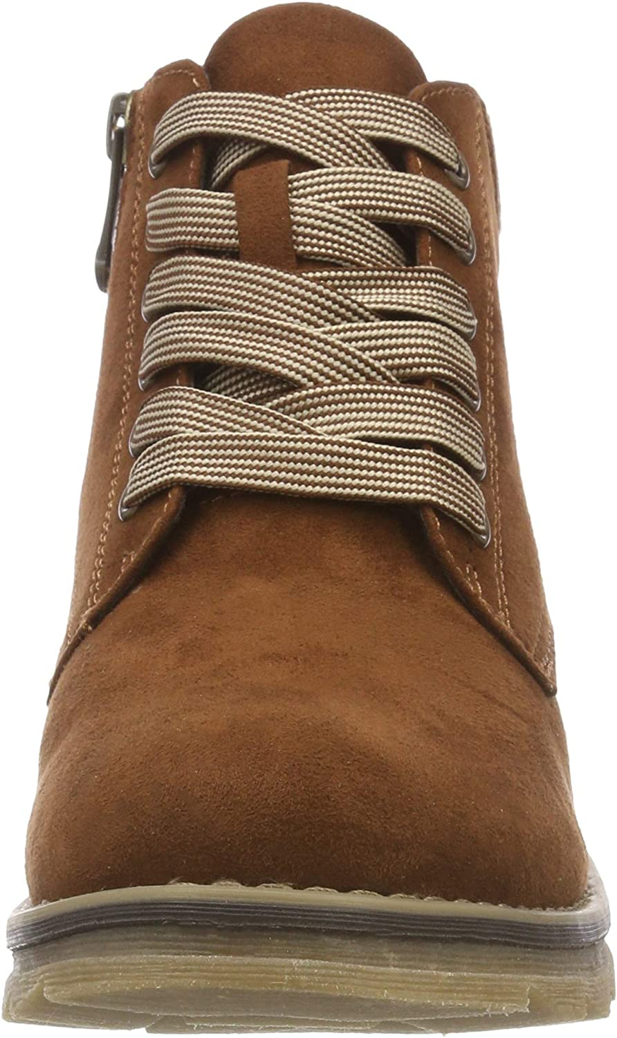 New Womens Marco Tozzi Tan 25208 Microfibre Boots Ankle Lace Up Zip