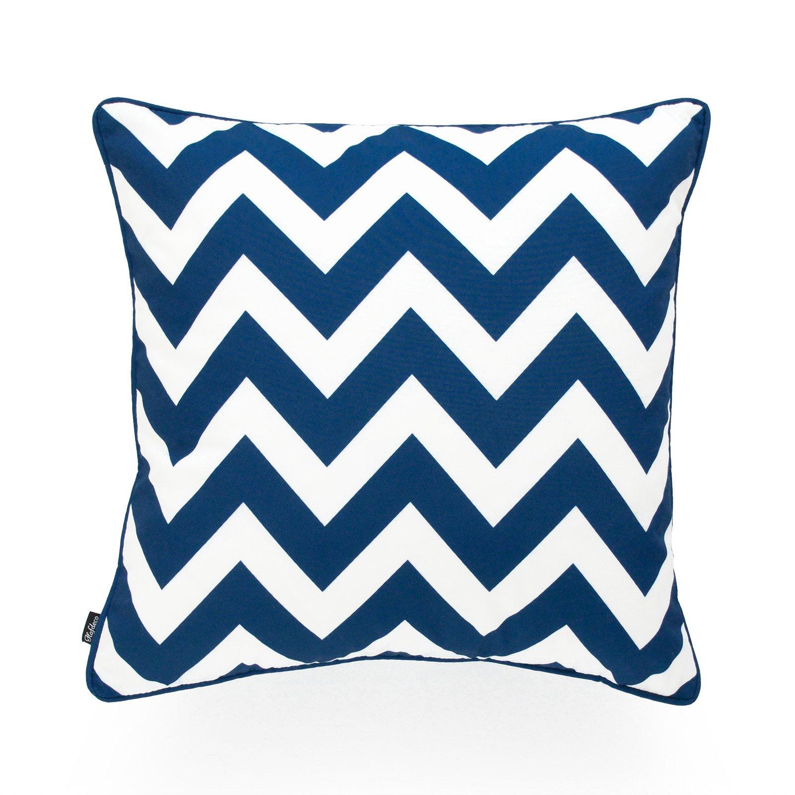 Hofdeco Decorative Throw Pillow Cover INDOOR OUTDOOR WATER RESISTANT Canvas Navy Blue Zigzag Chevron 18''x18''