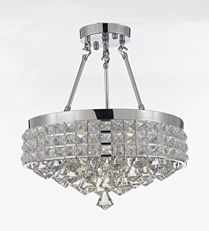 newest 45c1b b96e8 Semi Flush Mount French Empire Crystal Chandelier Chandeliers Lighting , Ht  17 X Wd 15 , 4 Lights , Free Shipping Crystal Silver Metal Shade ...