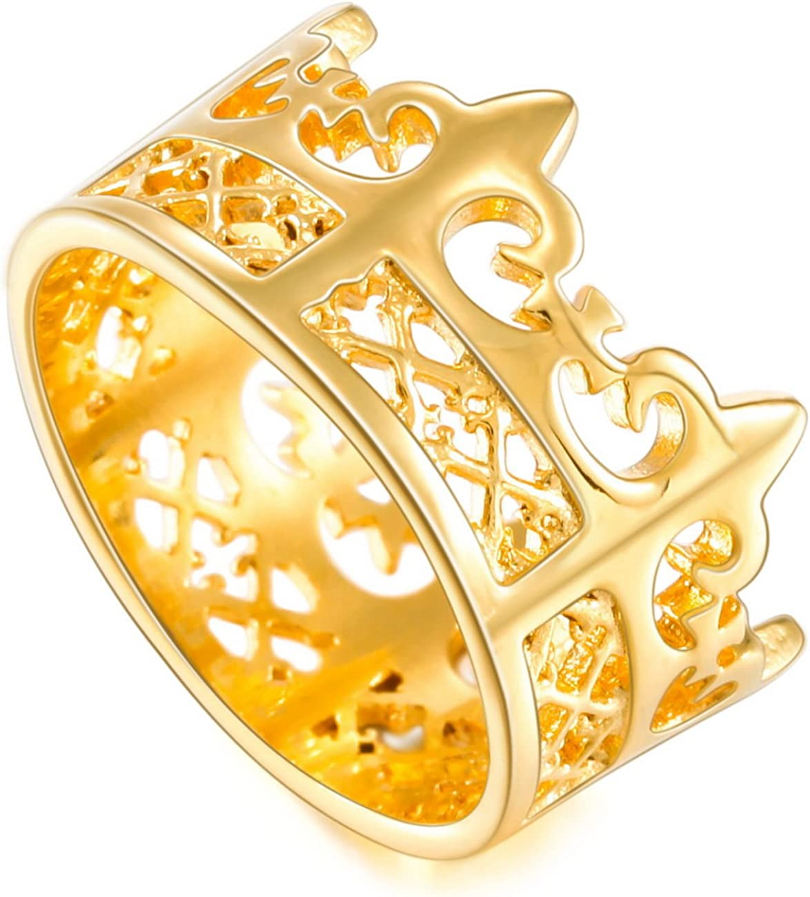 MOWOM Gold Tone Stainless Steel Band Ring Royal King Crown