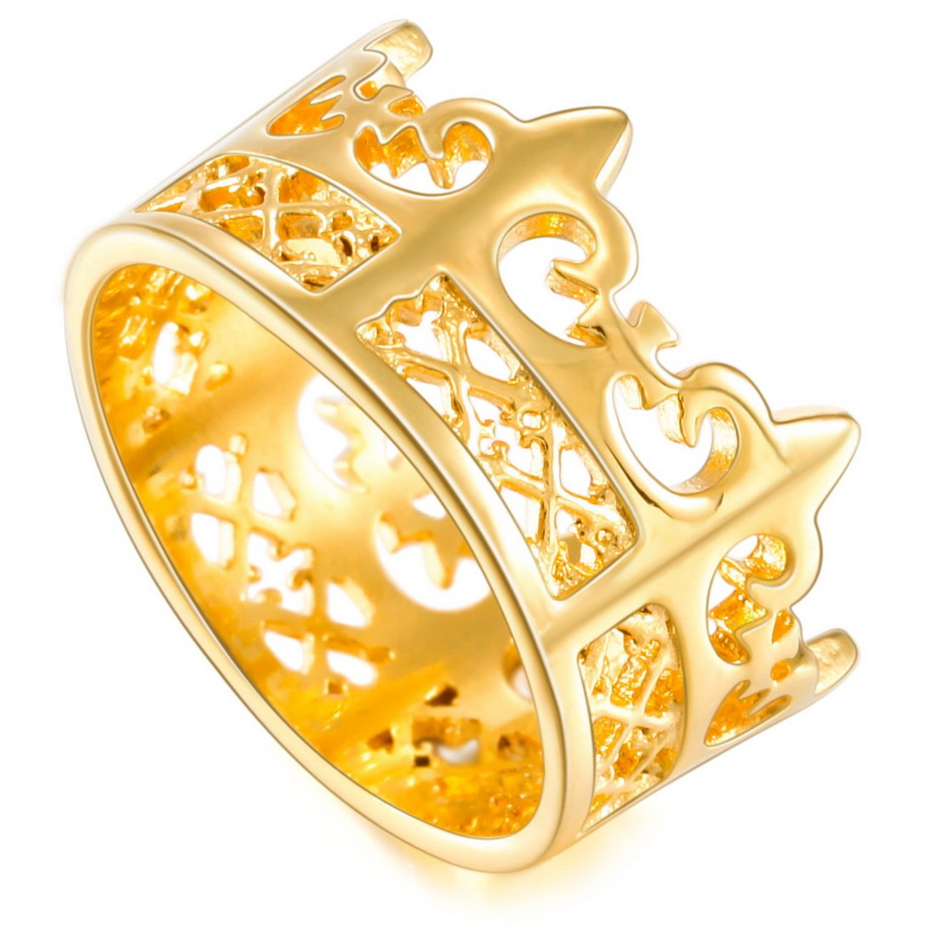 MOWOM Gold Tone Stainless Steel Band Ring Royal King Crown ca5040038-parent