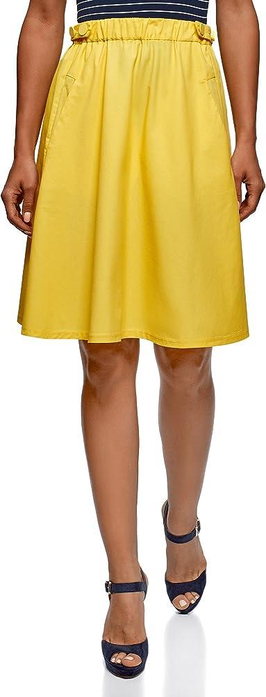 oodji Ultra Mujer Falda con Bolsillos Laterales, Amarillo, ES 36 ...