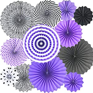 12PCS Hanging Paper Fans Decorations Purple Lavender Black Round Pattern Tissue Paper Garlands Decoration for Mermaid Party Birthday Wedding Baby Shower Events Supplies