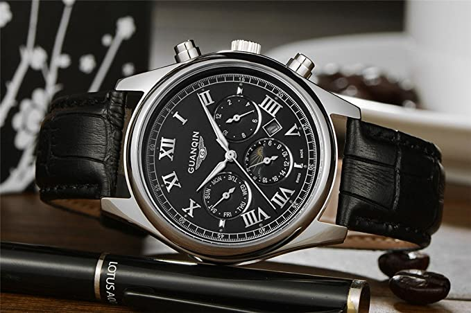 Amazon.com: Guanqin Quartz Mens Wrist Watch Leather Strap Date Roma Number Watch GQ12001: Watches