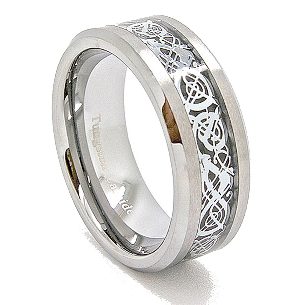 Unique 8mm Satin Tungsten Carbide with Silver-Colored Celtic Dragon Inlay Wedding Band (US Sizes 5-16) (8)