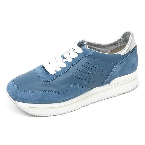 C8106 sneaker donna HOGAN H222 scarpa H forata azzurro scuro shoes woman