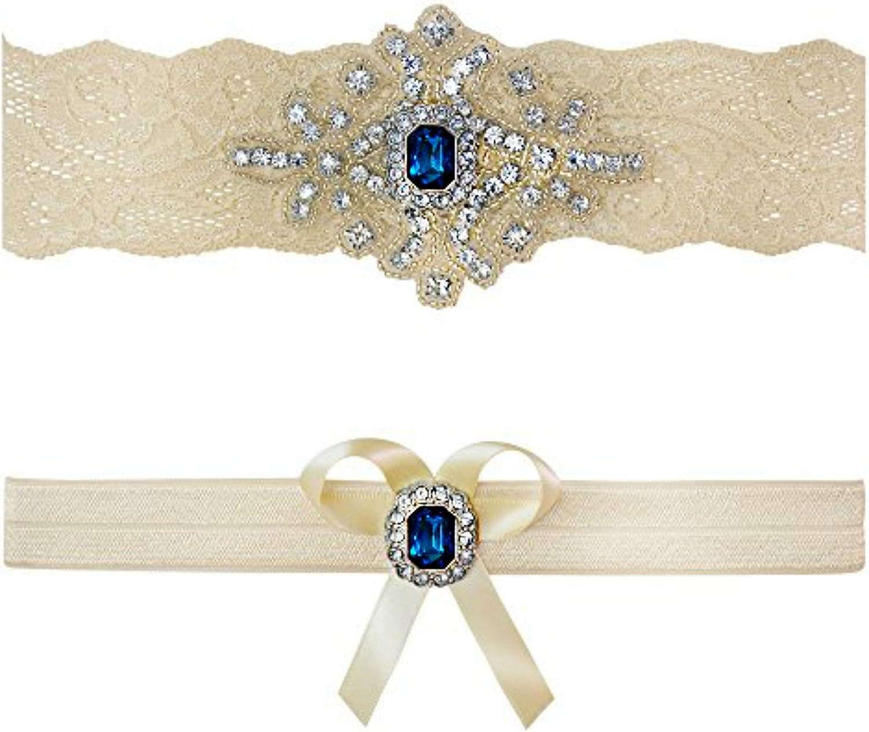 Amazon Com Ivory Sapphire Blue Wedding Bridal Lace Garter Set Keepsake Toss Tradition Vintage Clothing