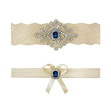 dd2f91887be Ivory Sapphire Blue Wedding Bridal Garter Set Keepsake Toss (Small  (16 quot  - 17 quot