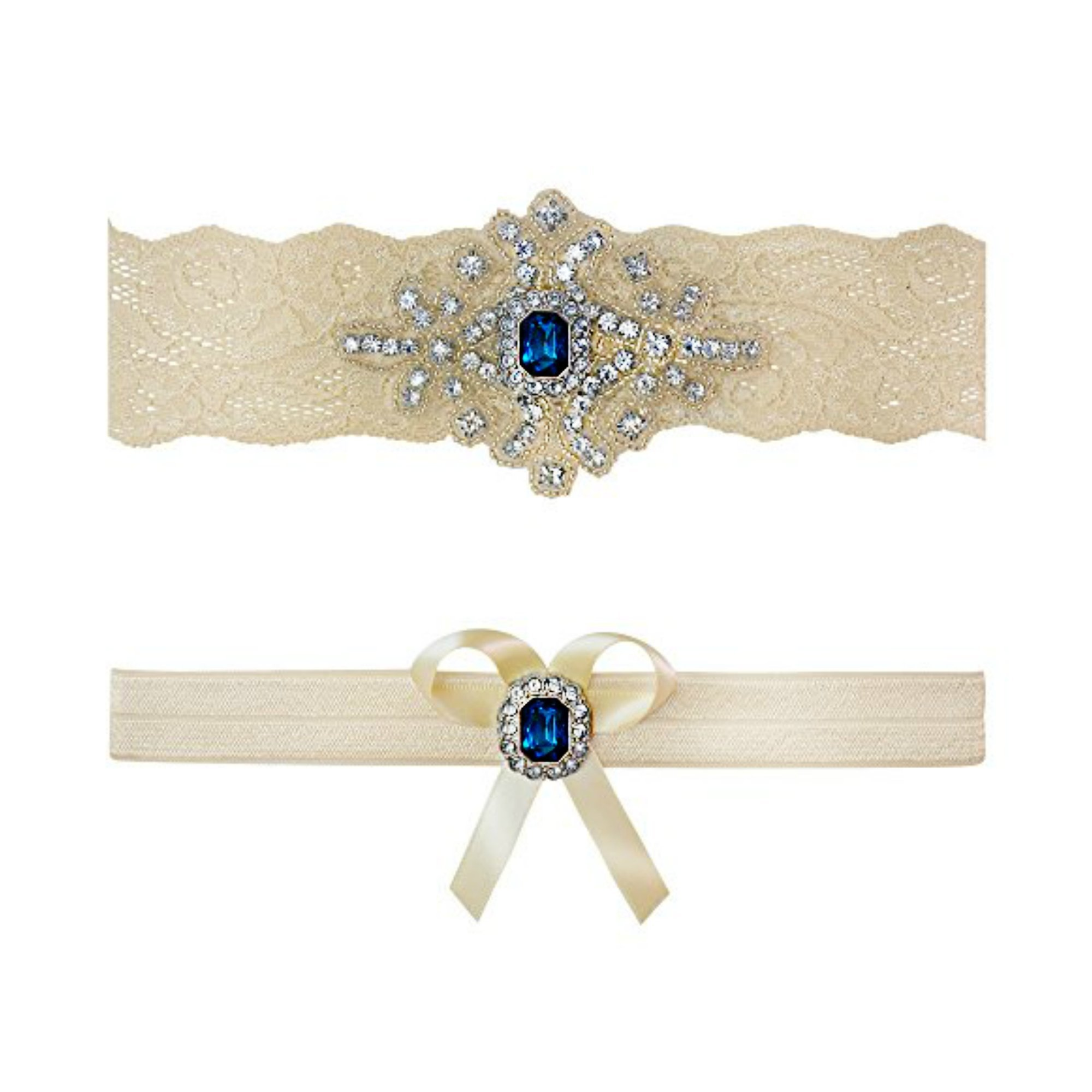 Ivory Sapphire Blue Wedding Bridal Garter Set Keepsake Toss (Large (20'' - 21''))