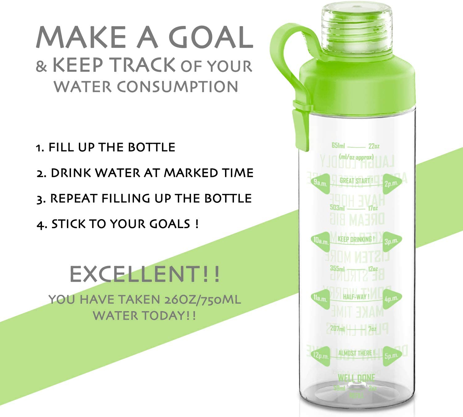 Artoid Mode 25oz Motivational Fitness Workout Sports Water Bottle with Measurements /& Time Marker Carbonation Friendly Goal Marked Times for Measuring Your H2O Intake BPA Free and Dishwasher Safe