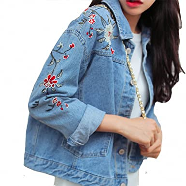 Plus Size Flower Embroidery Delicate Denim Jacket Casual Fashion NEW New Arrival chaquetas mujer Denim Blue