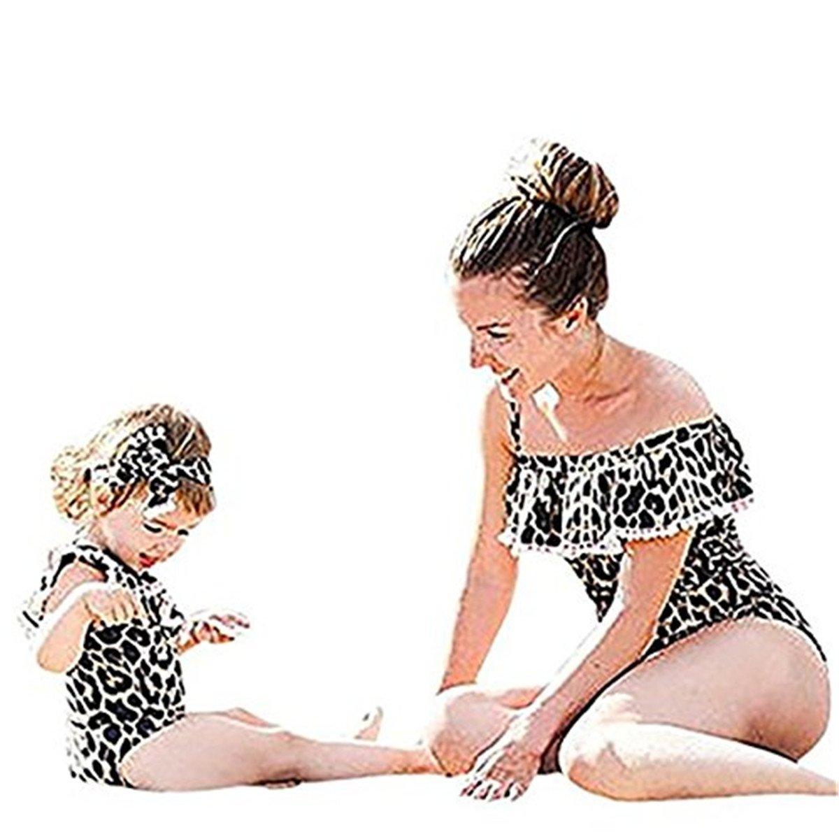 Faith Wings Costume da Bagno per Madre e Figlia,Elegante Monokini Un Pezzo Bikini Set Leopardo Stampare Costumi da Bagno Swimsuit Sportivi Coordinati Beachwear Family Partita di Famiglia Regalo