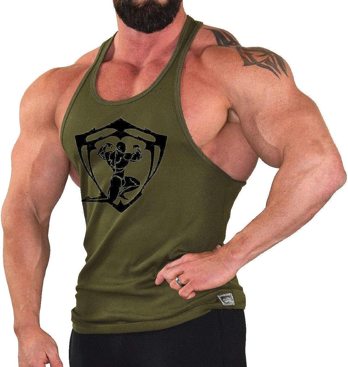 Crown Designs Crossfit Spartan Bodybuilding Weight-training Sports Stringer Vest Top with Y Back Racerback Fit for Men /& Teens