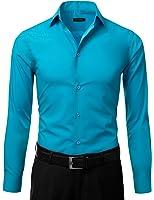 IDARBI Men's Slim Fit Long Sleeve Dress Shirt