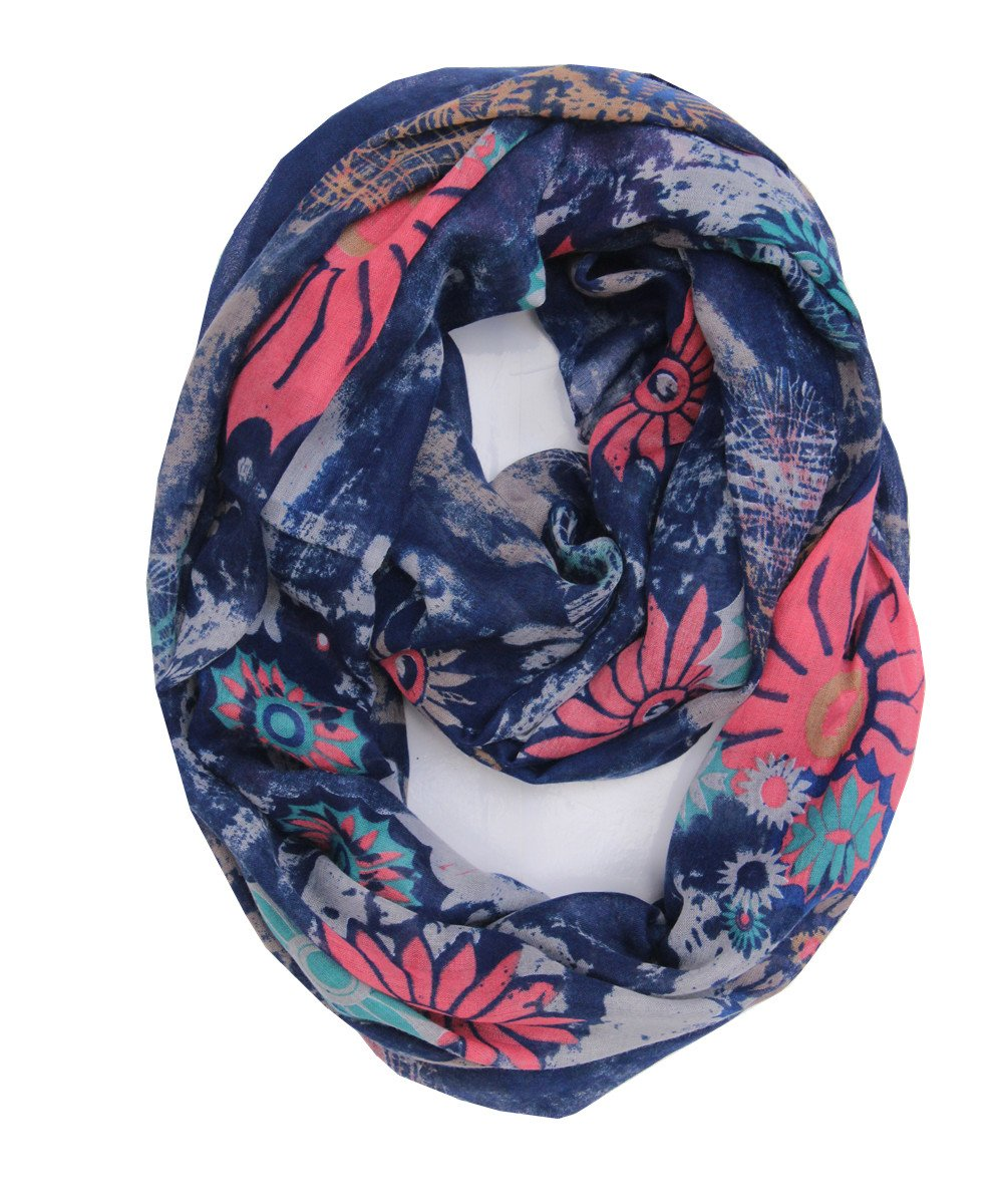 Ink Printing Green Lucky Leaf Women Lady Lightweight Yarn Infinity Scarf Cozy Loop Muffler Wrap Scarves