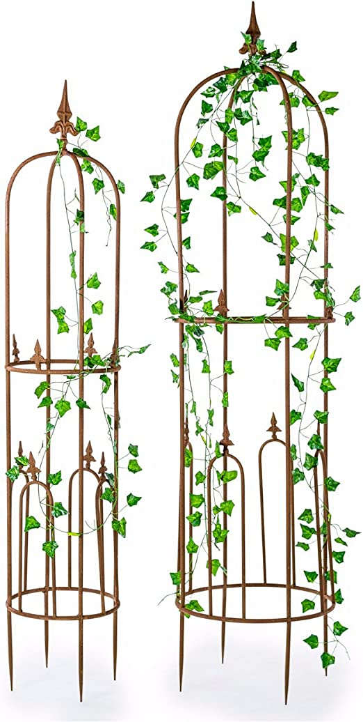 Set de 2 alto Metal jardín cultivador obelisco rosa para plantas ...