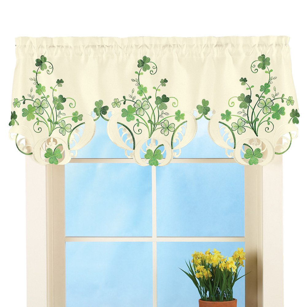 Collections Etc St. Patrick's Day Shamrock Embroidered Window Valance Decoration Winston Brands