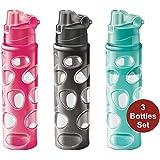 Milton Homery Stylish Sports Water Drink Bottle Adults Kids 3Pk Leakproof BPA-Free Double Layered 25oz Bottles Easy Open Flap w/Loop Handle Children Men Women School Gym & Office Use