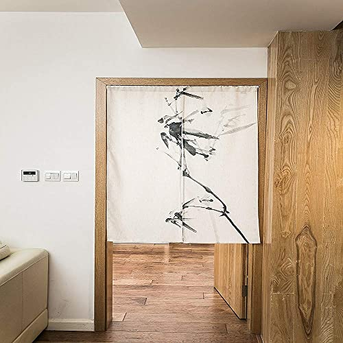 KARUILU home Japanese Noren Doorway Curtain Tapestry 33.5 Width x 47.2 Long Ink Bamboo