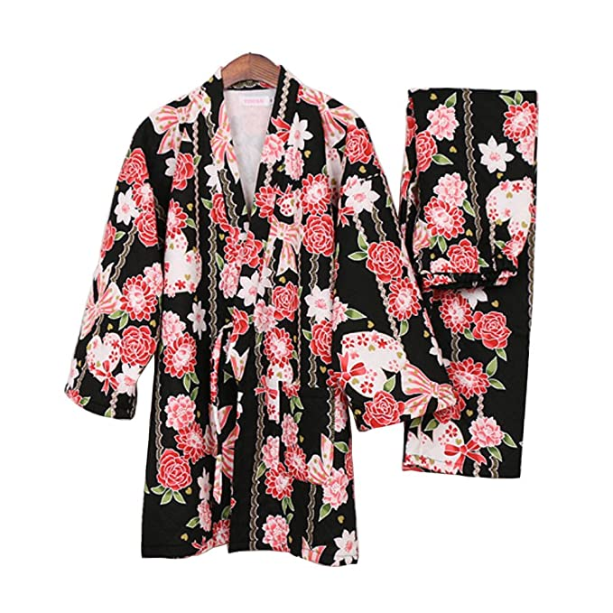 Fancy Pumpkin Pijamas de Estilo japonés Retro Grueso de Las Mujeres Pijamas de Kimono cálido Traje
