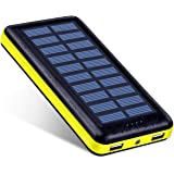 Solar Charger Antun Battery Pack 22400mAh High Capacity Power Bank Solar Power Bank Dual USB Charging Port Power Indicator With LED Flashlight and Charge Protection(Yellow)