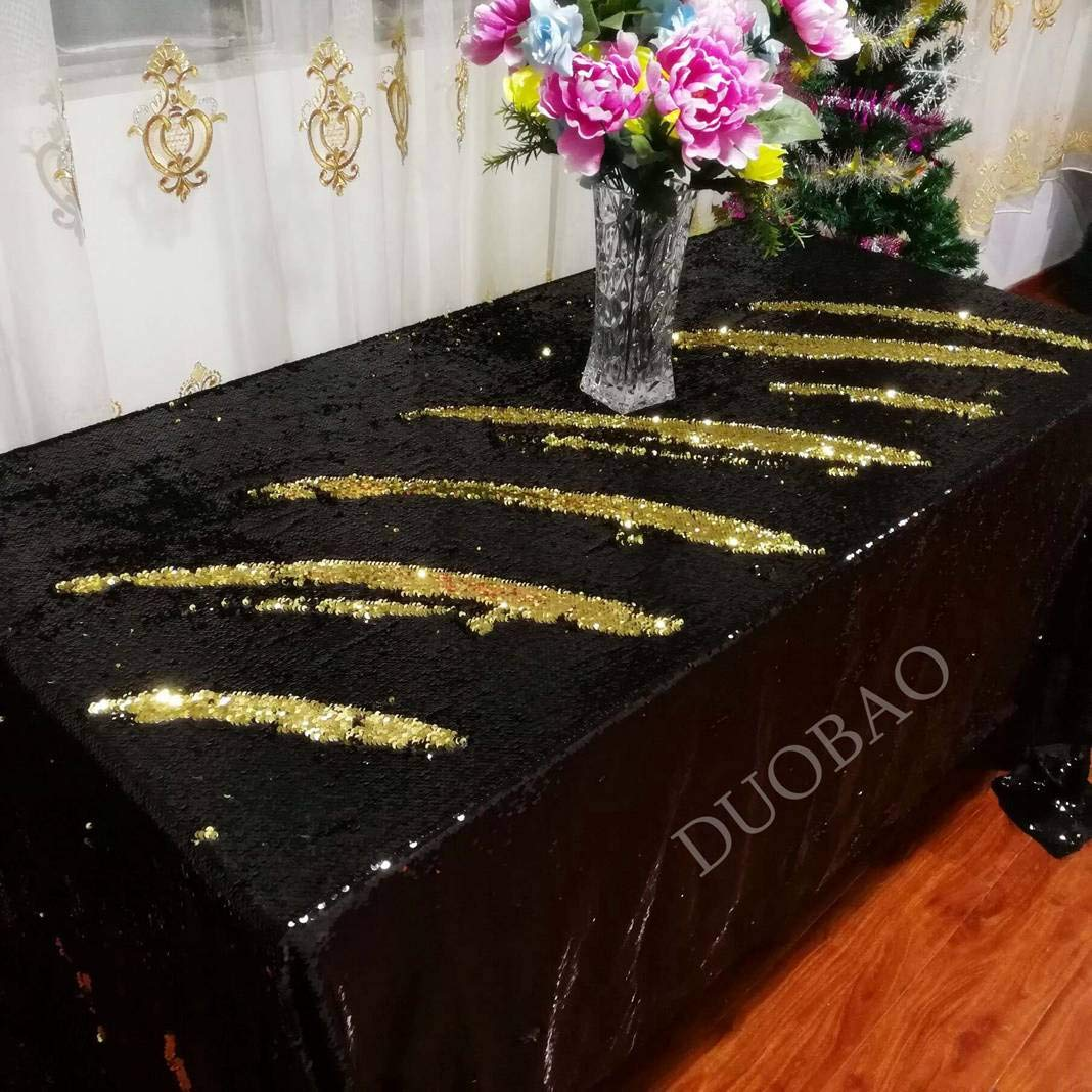 DUOBAO 72x108-InchRectangleSequinTableclothBlack to Gold Glitter Table Cloths Mermaid Sequin Table Cover for wedding/party/birthday-0612H