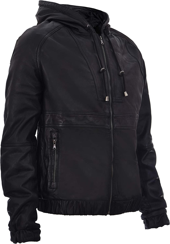 Mens Casual Black Nappa Leather Biker Jacket with Hood