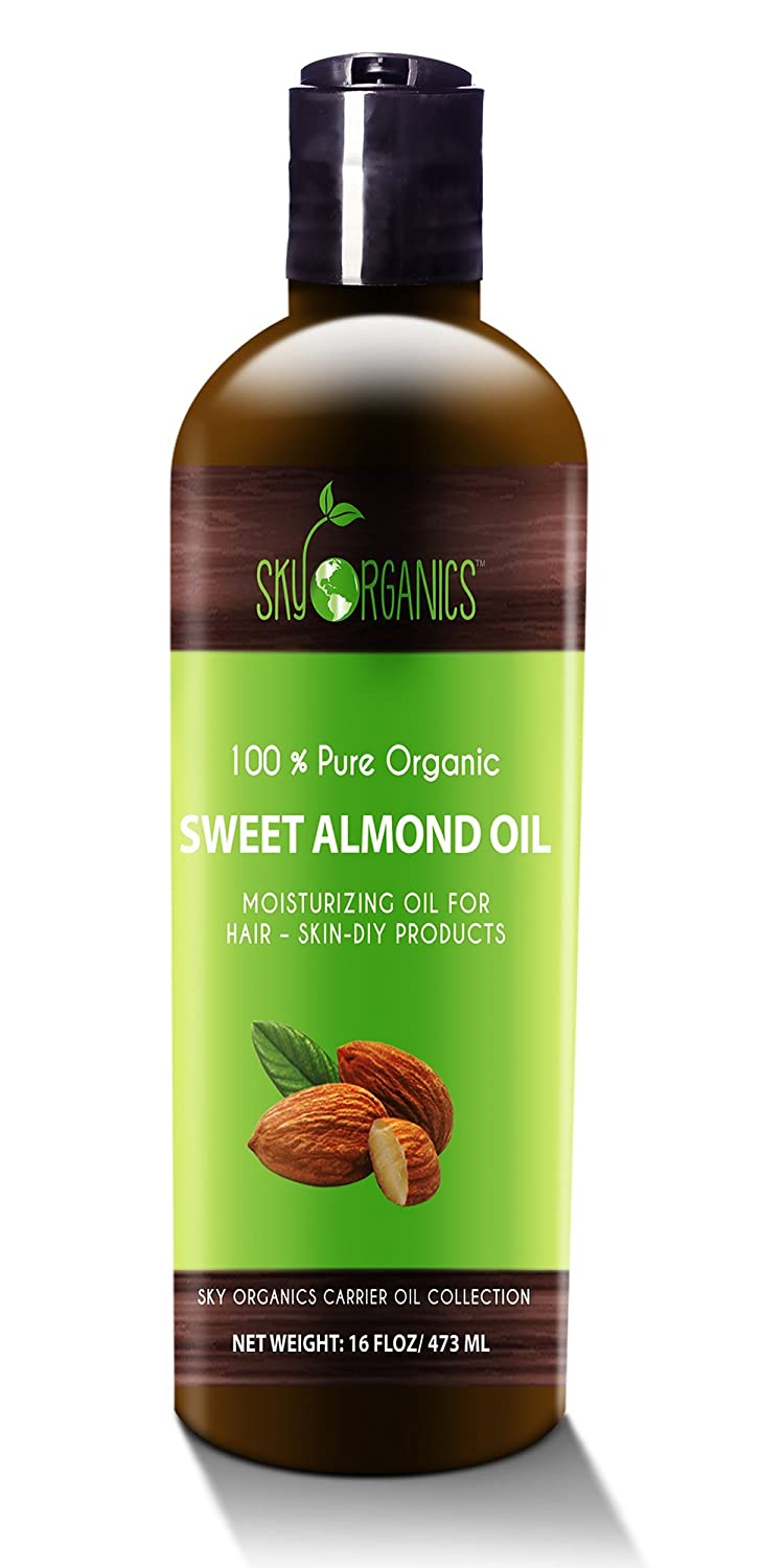 Best Sweet Almond Oil by Sky Organics 473ml- 100% Pure, Cold-Pressed, Organic Almond Oil. Great As a Baby Oil- Works Wonder On Wrinkles- Anti-Aging. #1 Rated Almond Oil- Carrier Oil for Massage