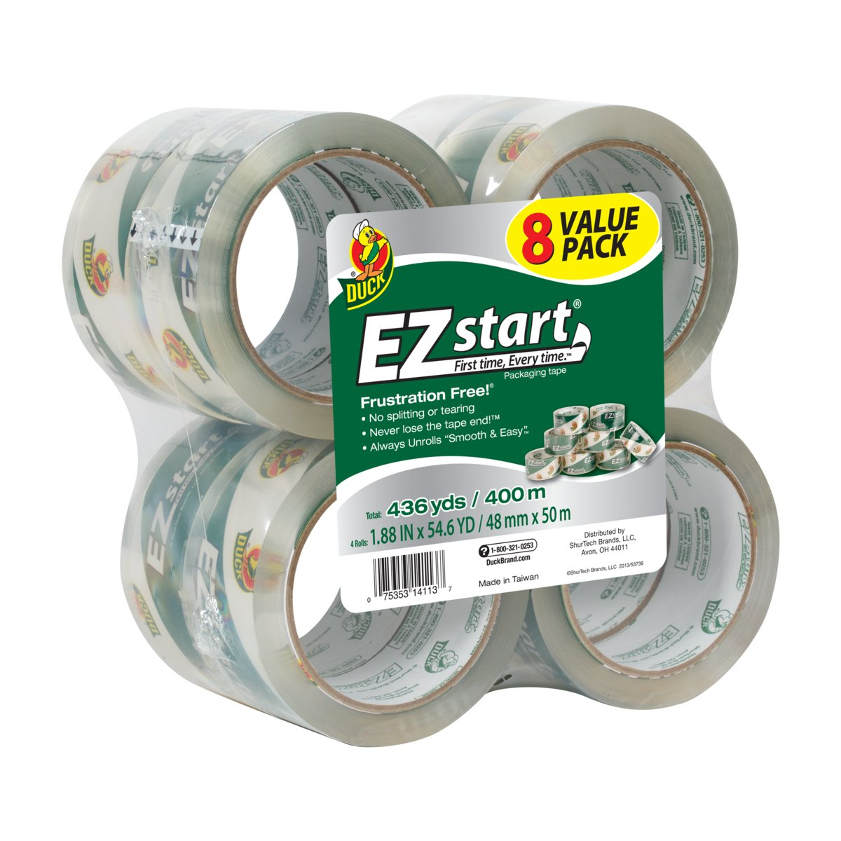 Duck Brand EZ Start Packaging Tape, 1.88 Inches x 54.6 Yards, Clear, 8 Pack (282404)