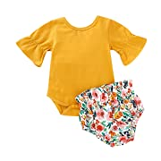 AR-LLOYD Baby Girls Floral Shorts Sets Infant Girl Ruffle Sleeve Romper + Flower Shorts Outfits 2Pcs Summer Clothes (Yellow, 3-6months)
