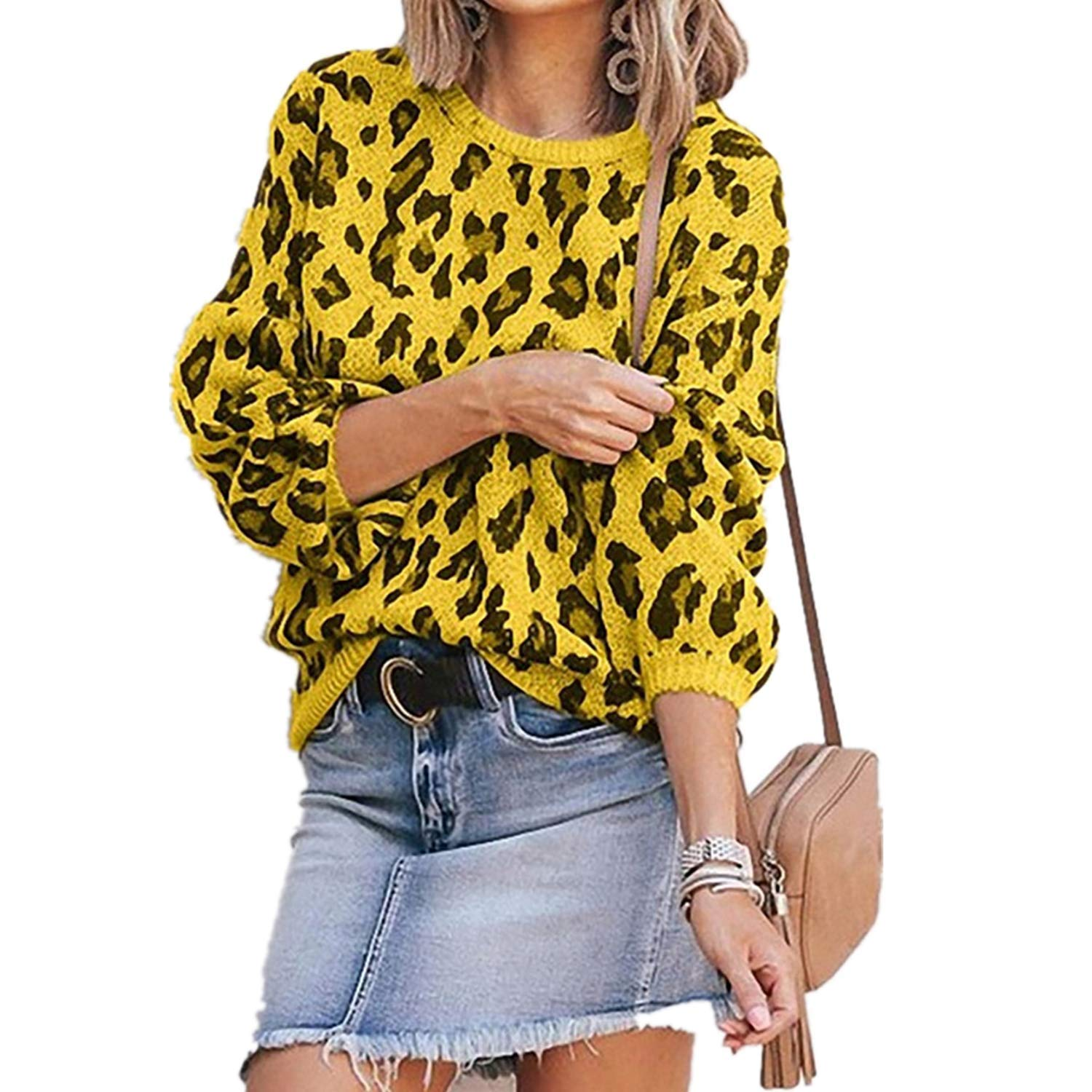 Womens Casual Leopard Printed Sweaters - Long Sleeve Sweatshirts Jumper Pullover Tops Knits Loose Blouse Yellow by HiSunlyan
