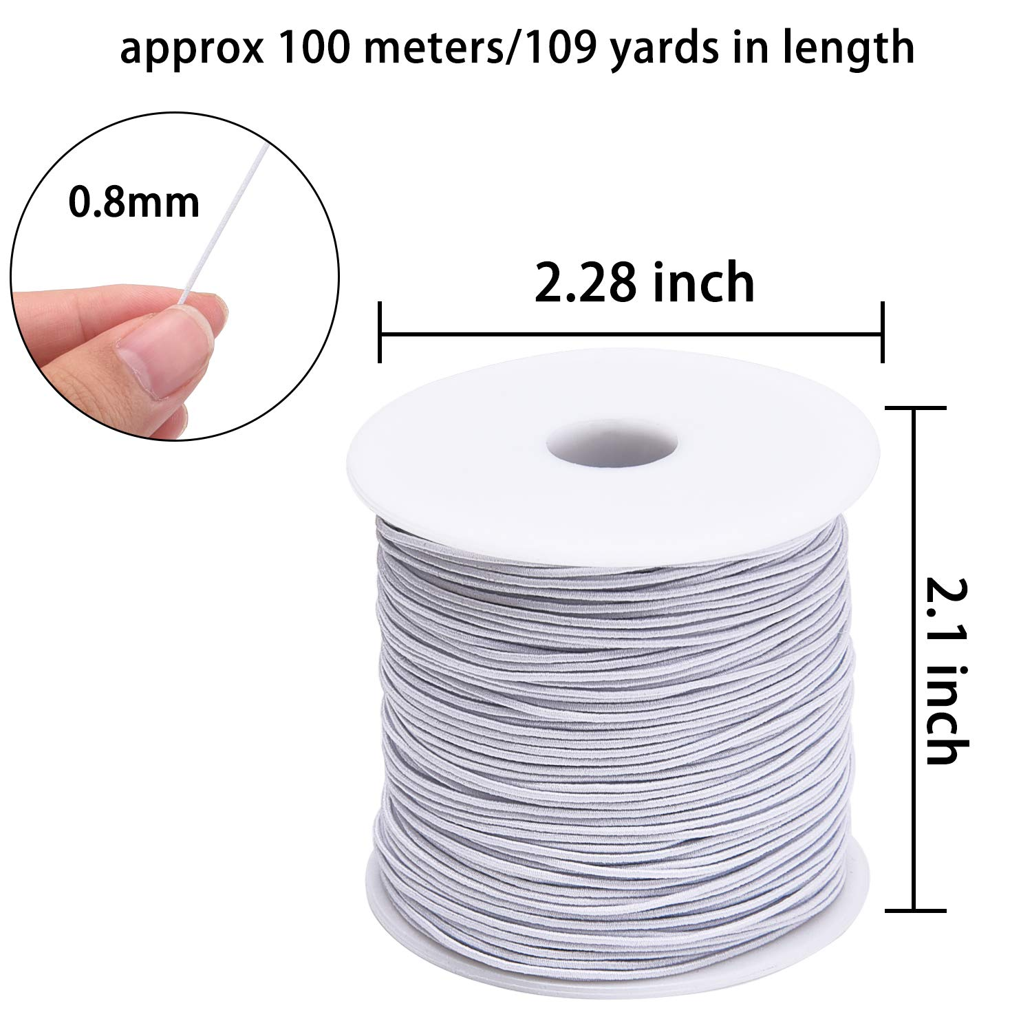 109 Yards Livder 0.8 mm Elastic String Cord Thread Cords for Jewelry Making Bracelets Beading White