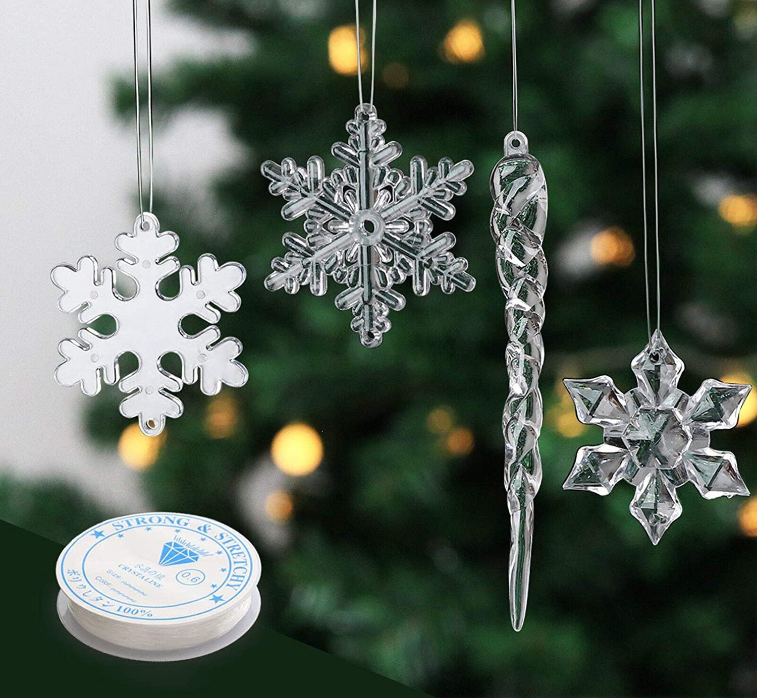 Chriatmas Clear Crystal Snowflakes Ornaments Xmas Tree Hanging Party Home Decor