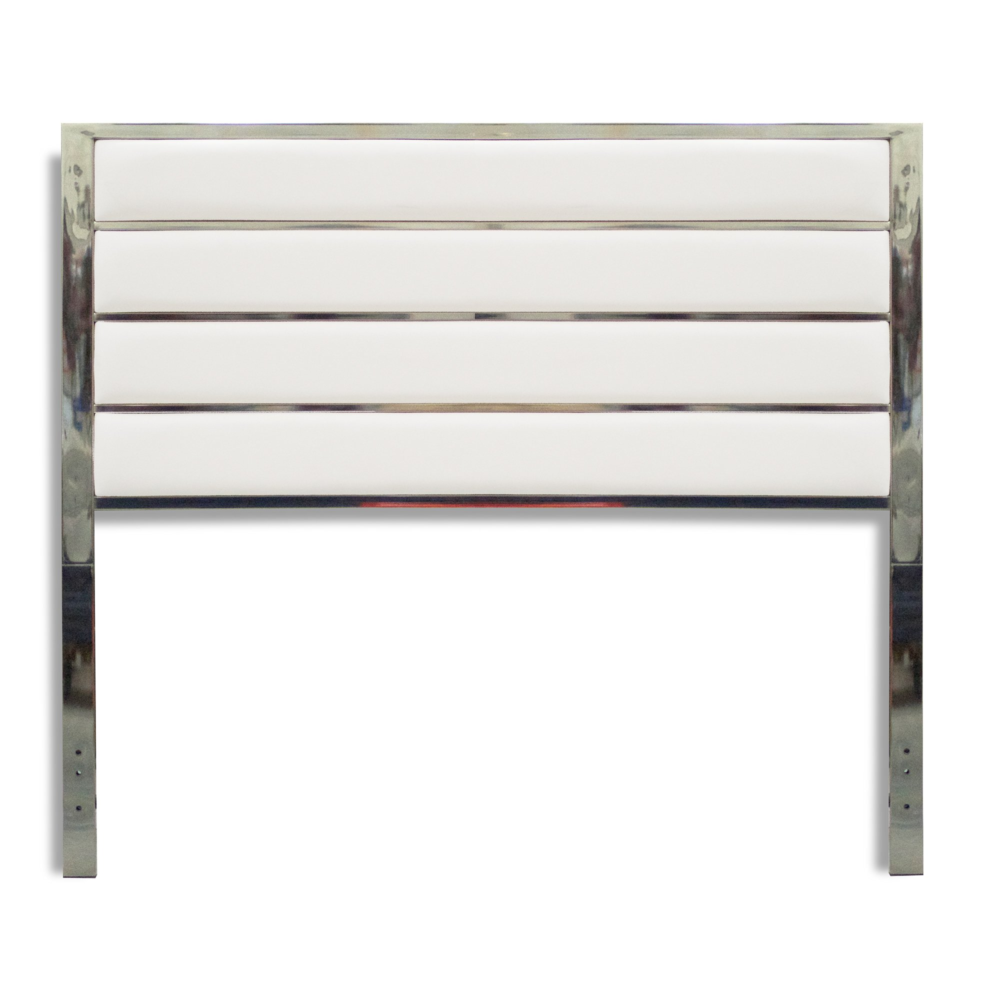 Fashion Bed Group B72526 Impulse Metal Headboard Panel with White Upholstery, Chrome Finish, King by Fashion Bed Group (Image #3)