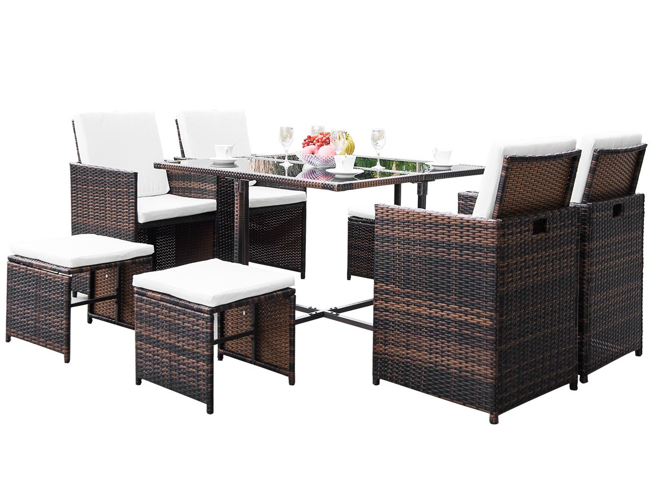 LZ LEISURE ZONE 9 Piece Patio Furniture Dining Set Outdoor Garden Wicker Rattan Dining Table Chairs Conversation Set with Cushions (Brown) - ✨Durable & Beautiful: Constructed with durable powder-coated steel frames and woven PE rattan to make the table and chairs durable enough for long time use. Perfectly highlights your patio or poolside décor. ✨Weather Resistant: Featuring sturdy construction and durable use, this patio outdoor wicker can well stand for both test of time and high temperature, which is perfect for any outdoor and indoor use. ✨Effortlessly Clean Up: Table with tempered glass adds a sophisticated touch and allows you to places drinks, meals and other accessories on top. And you can clean it easily with just a wipe when there is water strain on it. - patio-furniture, dining-sets-patio-funiture, patio - 71PdFxT1YML -