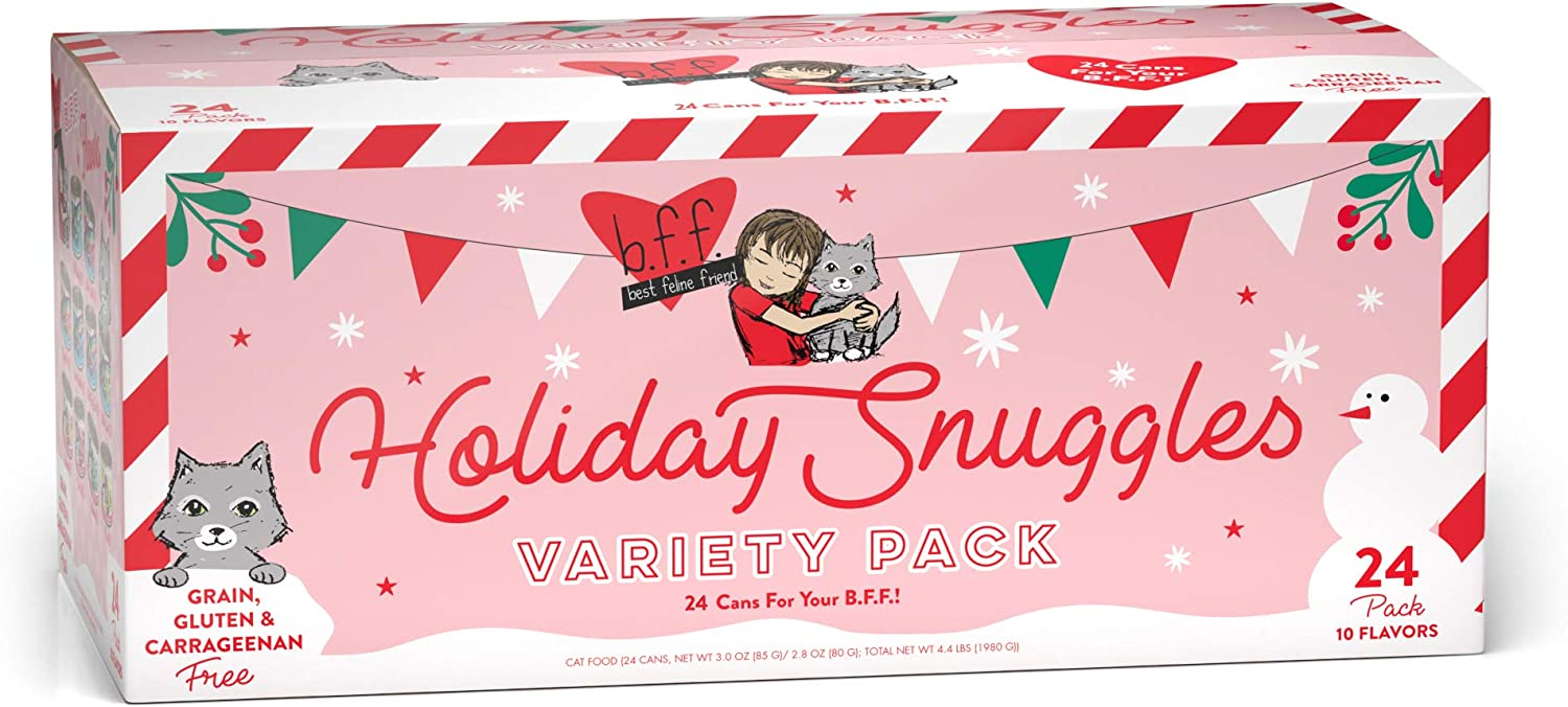 Weruva Best Feline Friend (B.F.F.) Holiday Snuggles Weruva Grain Free Canned Cat Food Variety Pack, 2.8oz & 3oz Cans (Pack of 24)