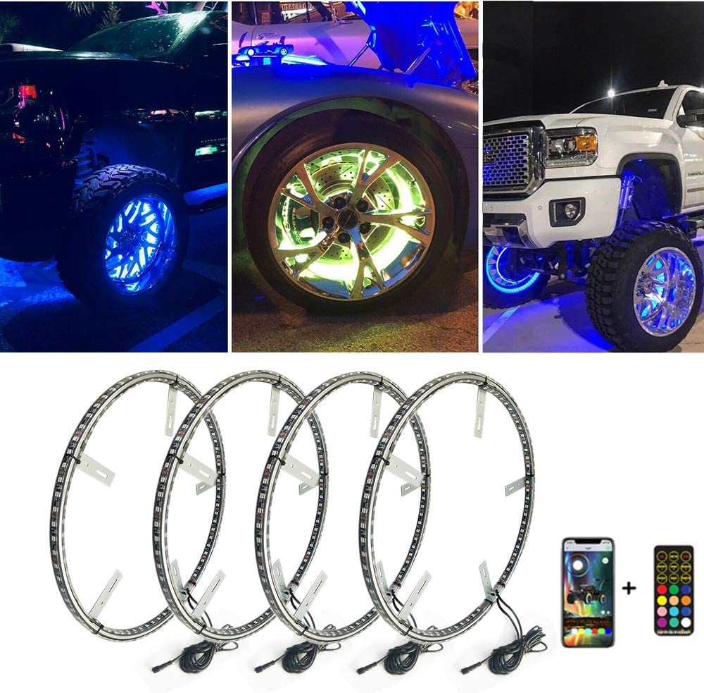 Super Bright Pure White LED Wheel Ring Lights Strobe LED Rims For Truck Car Switch 4x15.5 Dual Row LED Strips