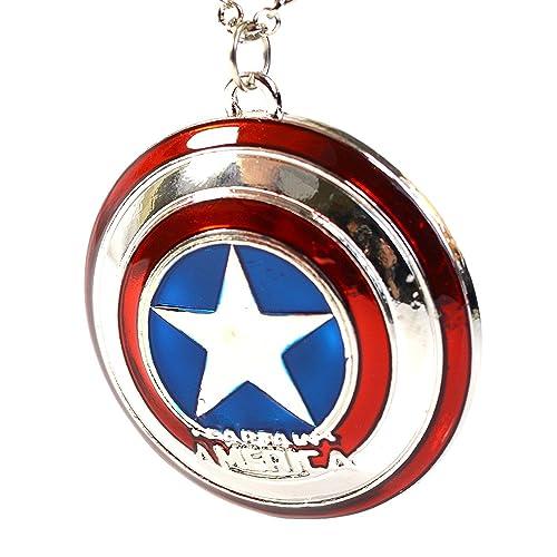 Colgante con el escudo y la estrella del superhéroe Capitán América de Los Vengadores de Marvel, con caja de regalo