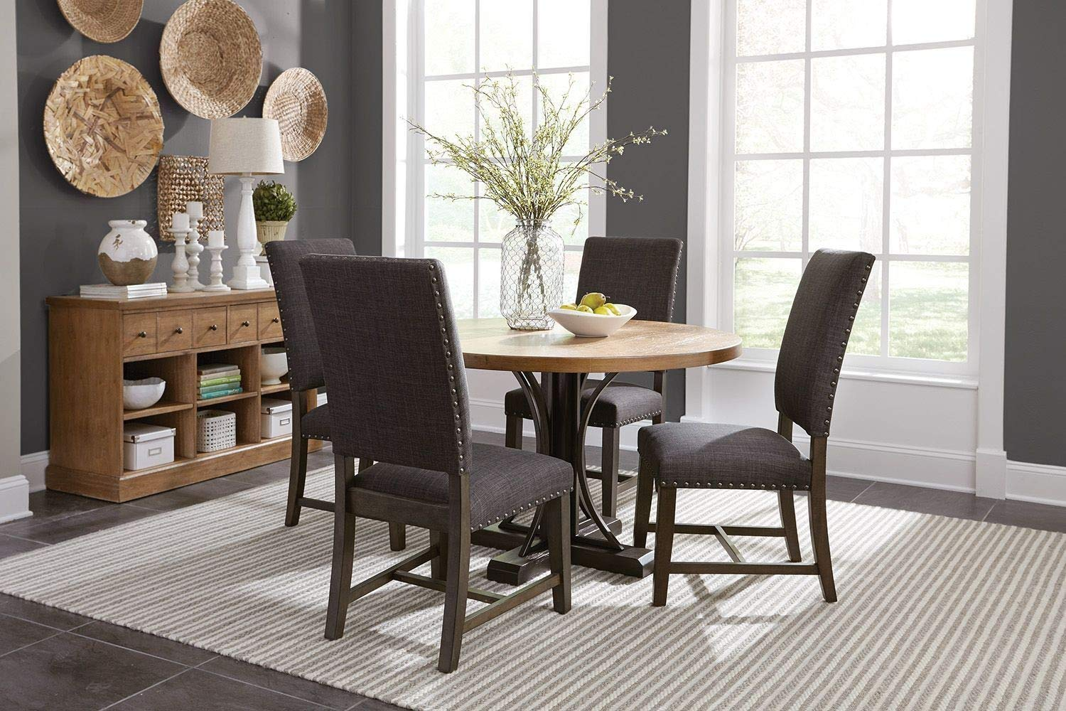 Upholstered Parson Side Chairs Warm Grey (Set of 2) by Scott Living (Image #2)