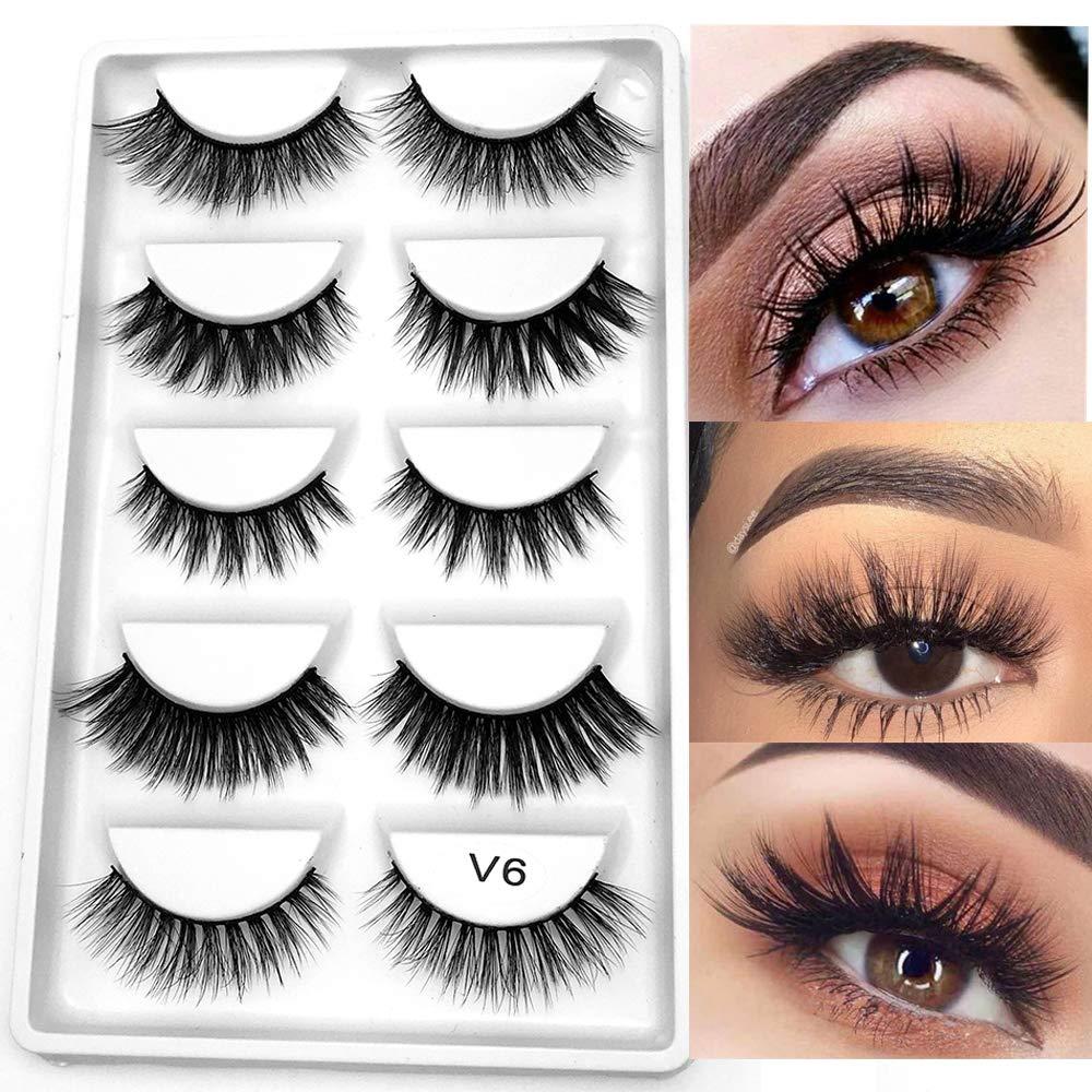 32191f37907 Amazon.com : 5 Pairs 3D Mink Hair False Eyelashes Mixed Cross Long Thick  Flutter Wispy Natural Lashe Handmade Makeup Tools : Beauty