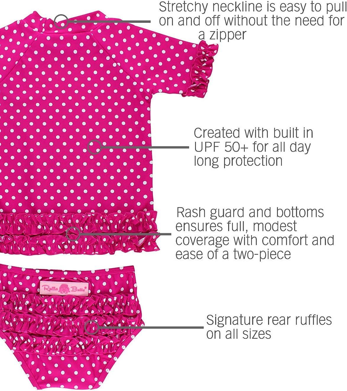 Polka Dot Bikini with UPF 50 RuffleButts Baby//Toddler Girls Rash Guard Short Sleeve 2-Piece Swimsuit Set Sun Protection