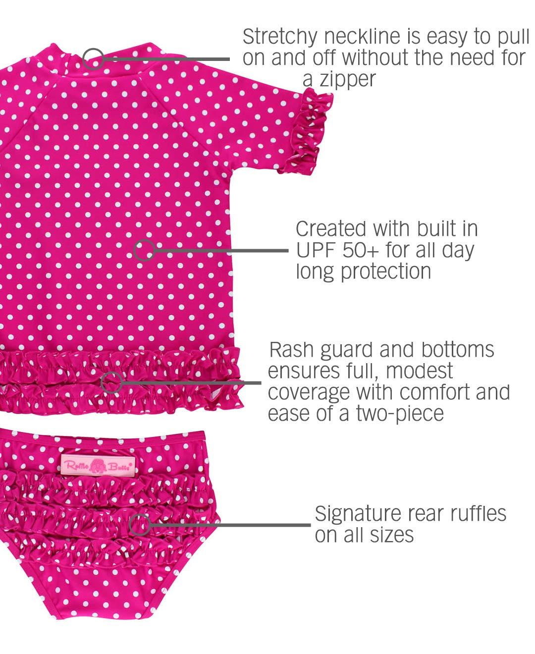 RuffleButts Little Girls Rash Guard 2-Piece Swimsuit Set - Berry Polka Dot Bikini with UPF 50+ Sun Protection - 3T by RuffleButts (Image #4)