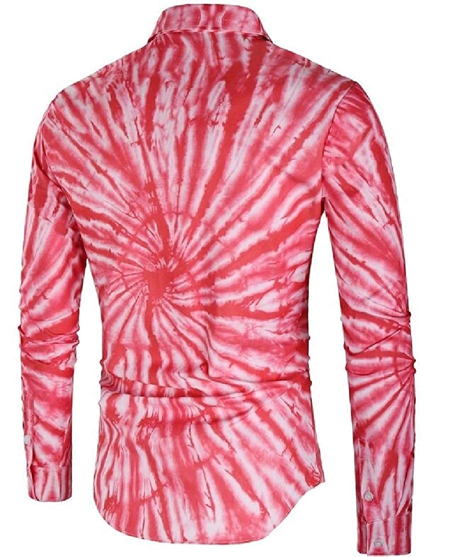Frieed Men Tie-Dyed Long Sleeve Casual Lapel Button Up Fashion Slim Fit Shirt