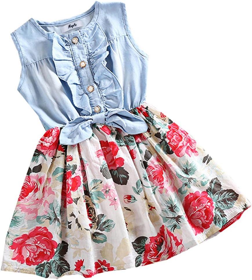فساتين Mingao للفتيات الصغيرات من قماش الدنيم مطبوع عليه ورود وأكمام طويلة، قطعة واحدة