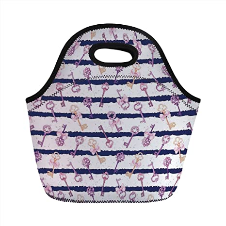 3567d7178849b Neoprene Lunch Bag,Girls,Old Medieval Vintage Keys with Ribbons and  Diamonds Striped Pattern