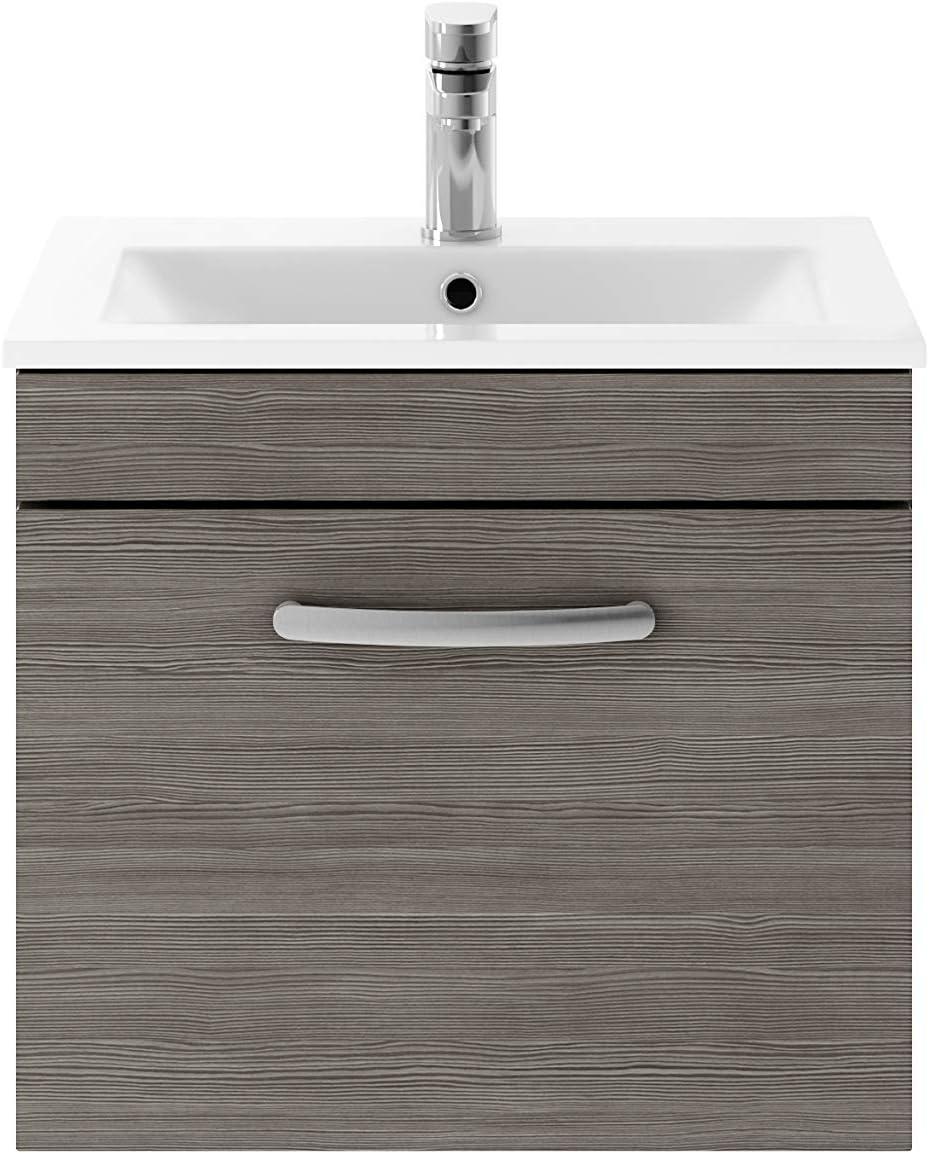 Nuie Hacienda Black ATH040W Athena ǀ Modern Bathroom Wall Hung Contemporary Single Soft Close Drawer Vanity Worktop Unit Suitable for Vessel Basin 600mm