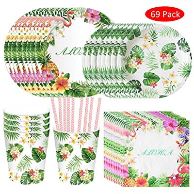 Formemory 69Pcs Hawaiian Theme Party Supplies, Includes Plates Cups Strawsand Napkins for Birthday and Summer Parties: Home & Kitchen