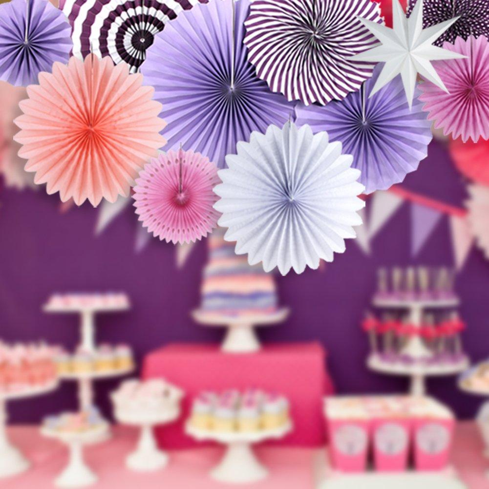 SUNBEAUTY Decorazione Rosa Carta Festa Decorazione, Foto Sfondo Decorazione per Matrimonio e Compleanno Baby Shower 11 Pezzi